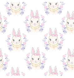 Seamless pattern with cute cartoon bunny baby vector