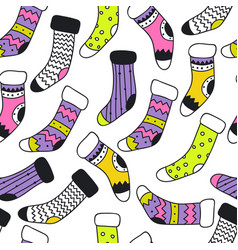 seamless pattern with different doodle santa socks vector image