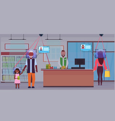 Senior man with child standing at checkout counter vector