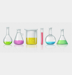 set laboratory flasks chemical glass tubes vector image
