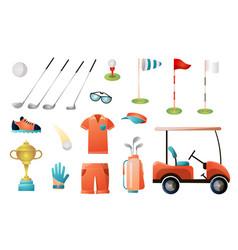 set modern golf equipment for gold championship vector image