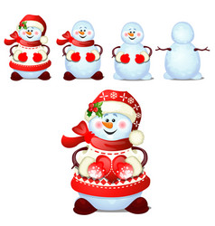 set of cheerful snowmen with cap of santa claus vector image