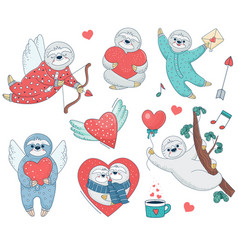 Set of valentine sloths with hearts vector