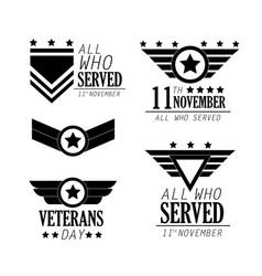 Set veterans day celebration and honor emblem vector