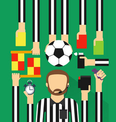 Soccer referee modern design fla set vector