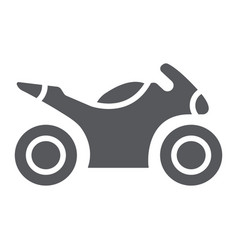 Sportbike glyph icon transport and drive vector