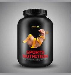 sports nutrition container with label biceps a vector image