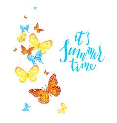 summer butterflies card vector image