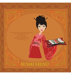 Sweet asian girl enjoy sushi card vector