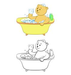 Teddy bear washes in the bath vector