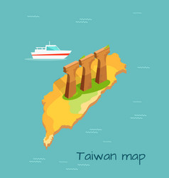 three stone or concrete supports in taiwan island vector image