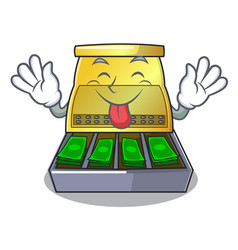Tongue out cartoon cash register with a money vector