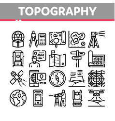 Topography research collection icons set vector
