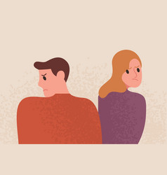 Unhappy couple with depressed face expression vector