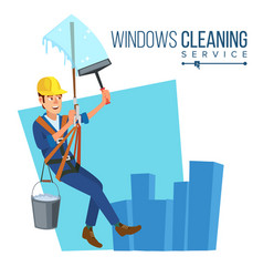 Windows cleaning service window washer is vector