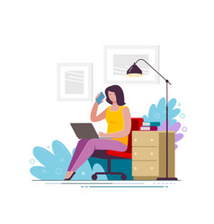 young woman uses laptop and smartphone at home vector image
