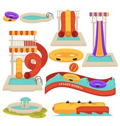 Aquapark water slides and amusement park vector