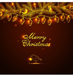 Christmas background with bird and decorations vector image vector image