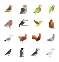 Flat design birds icon set vector image vector image