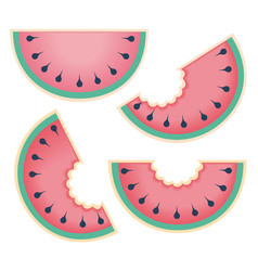 fresh and juicy whole watermelons and slices vector image vector image