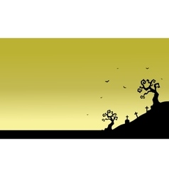 Tomb scenery of silhouette Halloween vector image vector image