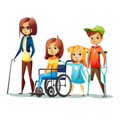 handicapped children of vector image