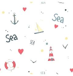 Pattern sailboat lifebuoy anchor lighthouse vector image