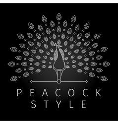 Thin line peacock logo vector image vector image