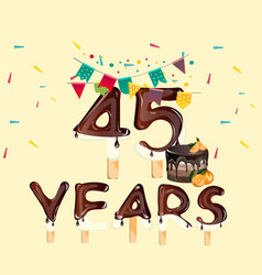 45 years happy birthday card vector image