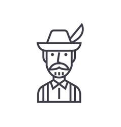 bavarian man concept thin line icon symbol vector image