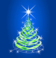 christmas tree blue background with stars vector image