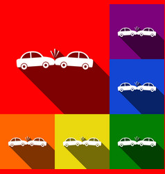 crashed cars sign set of icons with flat vector image vector image