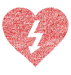 power love heart fabric textured icon vector image vector image
