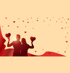 valentines day template background with silhouette vector image vector image