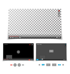 video player interface template with vector image