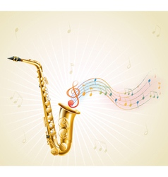 A saxophone with musical notes vector image