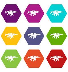 aquatic dinosaur icon set color hexahedron vector image