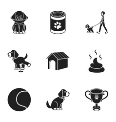 Dog equipment set icons in black style Big vector image vector image
