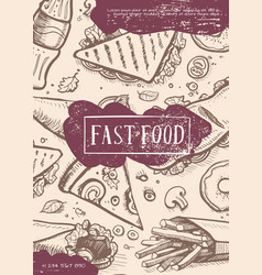 Fast food retro grunge advertising card vector