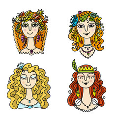 four season girls sketch for your design vector image