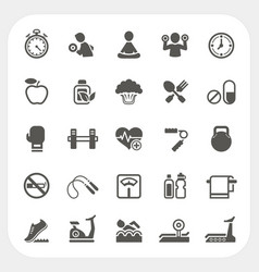 Health and Fitness icons set vector image vector image