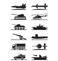 Military equipment icon set vector