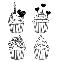 monochrome background Hand drawn cakes vector image