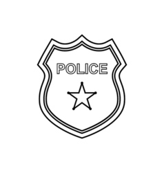 Police badge outline icon Linear vector image vector image