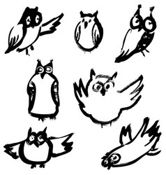 sketchy owls set artistic hand-drawn birds vector image