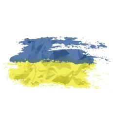 Ukrainian flag painted by brush hand paints Art vector image vector image