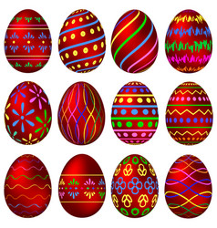 a set of red easter eggs with colorful patterns vector image