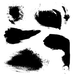 Abstract brush strokes of black paint on white vector image
