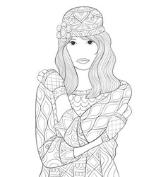 Adult coloring bookpage a cute girl vector
