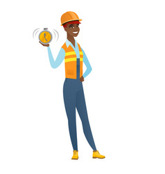 African-american builder holding alarm clock vector